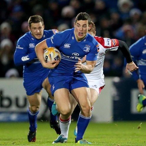 Centre Noel Reid makes a break for Leinster