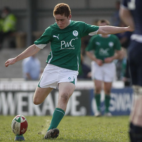 Ireland Schools centre Paddy Jackson goes for goal