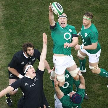 Ireland captain Paul O'Connell wins a lineout