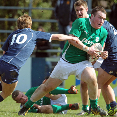 Peter Dooley in action for the Ireland U-18 Clubs team