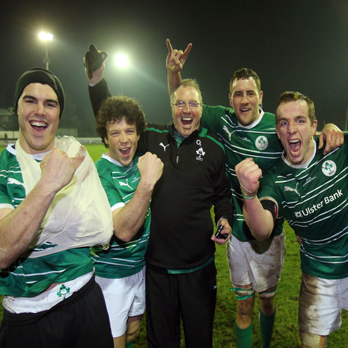 The Ireland Club players celebrate their victory