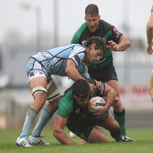 Connacht prop Ronan Loughney is tackled by Cardiff's Josh Navidi