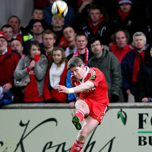 Ronan O'Gara kicks the match-winning penalty for Munster