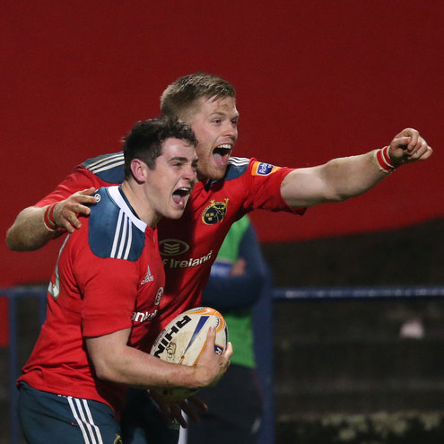 Try scorer Ronan O'Mahony and Ivan Dineen celebrate