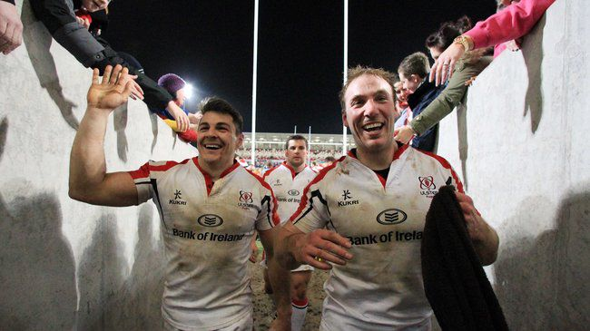 Sean Doyle and Stephen Ferris celebrate after the game