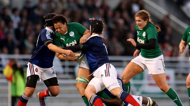 Sophie Spence takes the ball into contact
