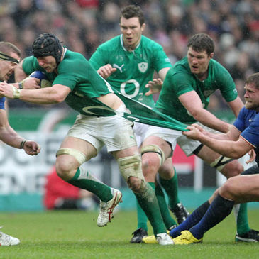 Stephen Ferris drives forward for Ireland