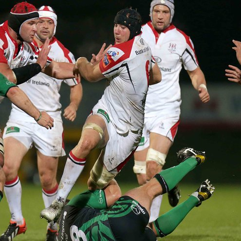 Ulster's Stephen Ferris on the charge against Connacht