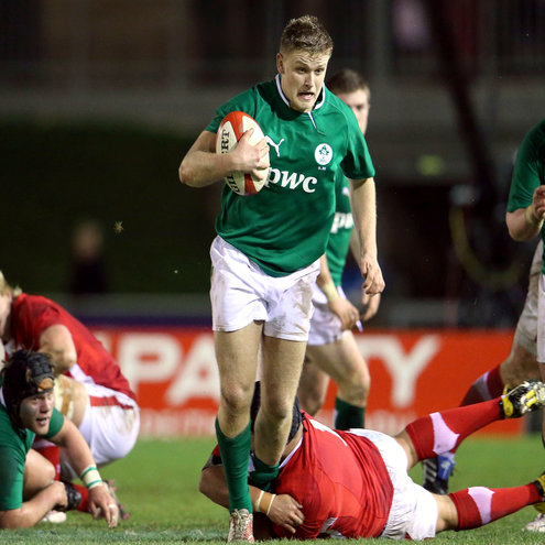Steve Crosbie on the attack for the Ireland U-20s