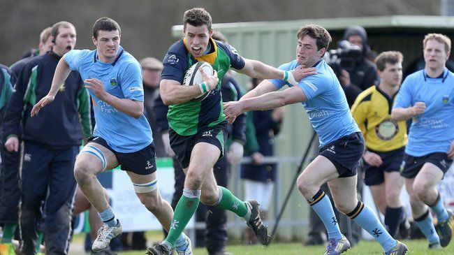 Ballynahinch captain Stuart Morrow breaks forward