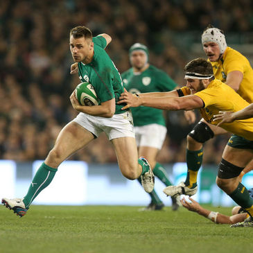 Tommy Bowe on the attack for Ireland