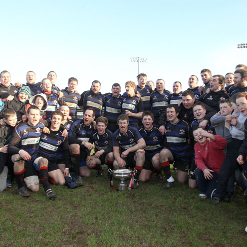 Tullamore celebrate their second Junior Cup triumph