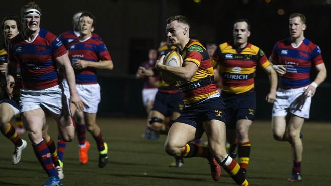 Centre John O'Donnell cuts through for Lansdowne's third try