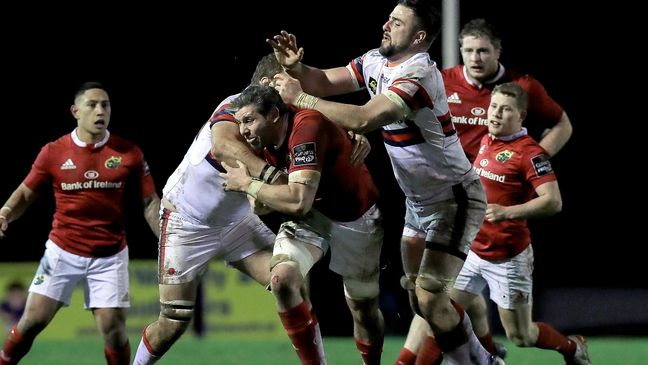 Flanker Dave O'Callaghan drives forward for Munster 'A'