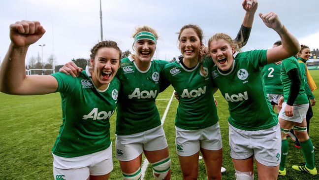 The Ireland Women celebrate their win over France