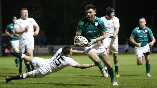 Matt D'Arcy breaks through to score Ireland's opening try
