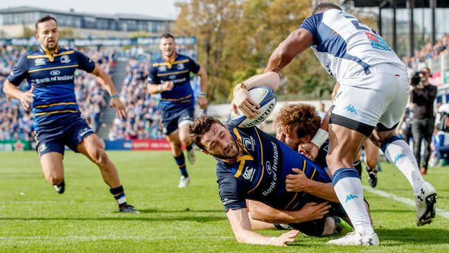 Barry Daly scores Leinster's fourth try against the French side