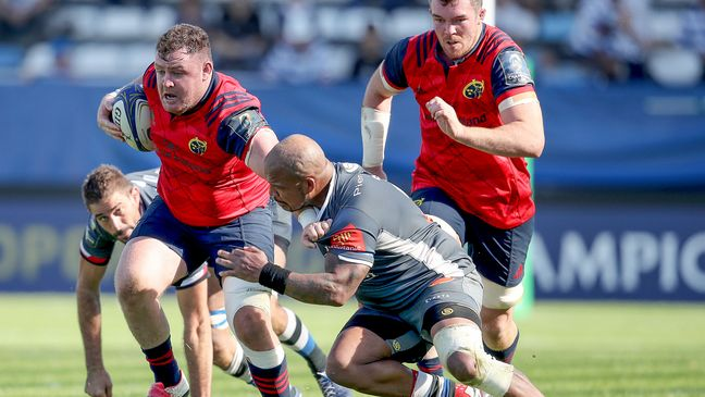 Dave Kilcoyne drives forward for Munster