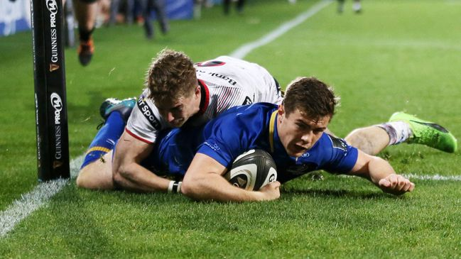 Luke McGrath squeezes over in the corner to score Leinster's second try