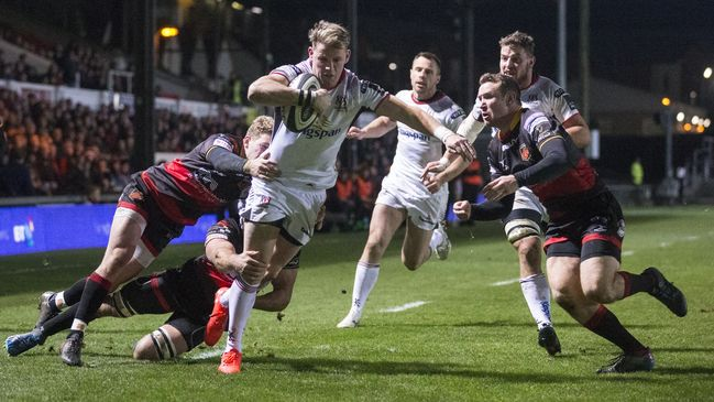 Craig Gilroy breaks through to score his second try and Ulster's fourth