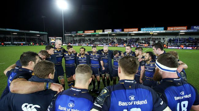 Rob Kearney speaks to his Leinster team-mates after their win in Exeter