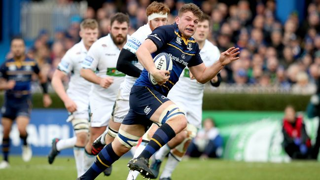 Jordi Murphy races clear to score Leinster's opening try