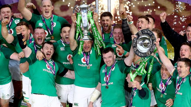 Ireland celebrate with the Six Nations and Triple Crown trophies
