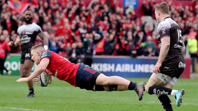 Chris Ashton can only watch on as Andrew Conway dives over for the match-winning try