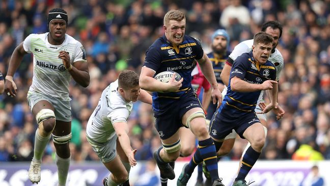 Dan Leavy sprints clear to score Leinster's second try