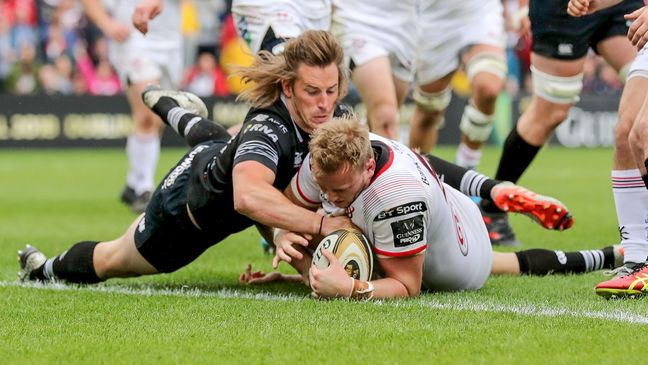 Kieran Treadwell touches down for Ulster against the Ospreys
