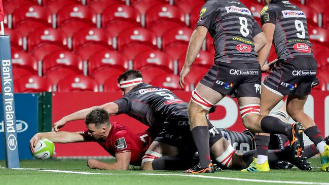 Jack Stafford reaches out to score the first Munster 'A' try