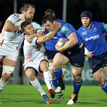 Cian Healy crashes into the Ospreys' defence