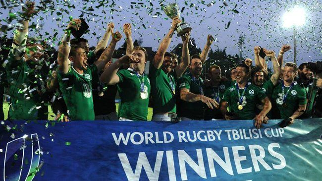 The Emerging Ireland players celebrate with the cup