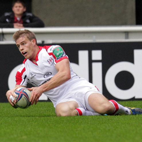 Andrew Trimble ran in Ulster's try in Montpellier