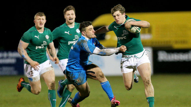 Dan Goggin on the attack for the Ireland Under-20s