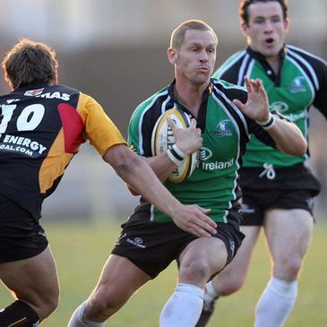 Connacht's Paul Warwick on the attack against the Dragons