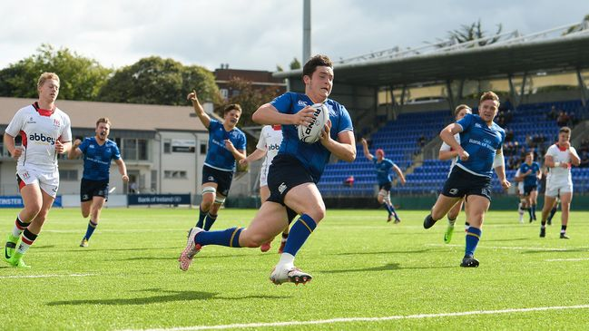 Prop Niall McEniff runs in Leinster's third try against Ulster