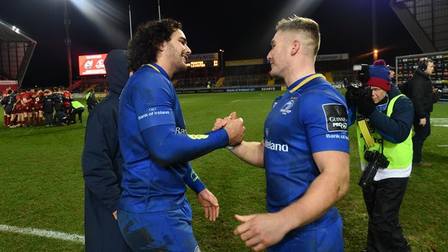 Leinster's James Lowe and Jordan Larmour