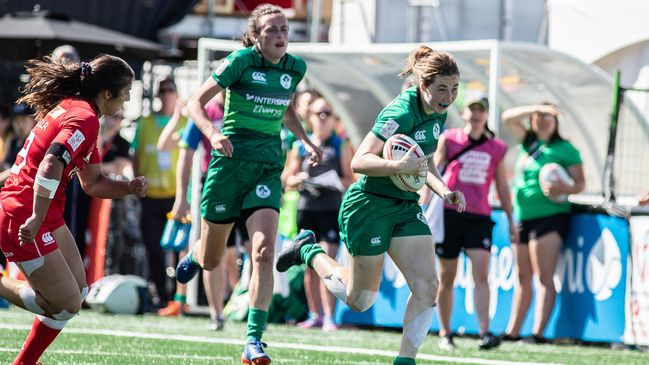 Teenager Eve Higgins leads an attack for Ireland