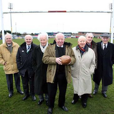 Members of the 1948 Grand Slam-winning side at Ravenhill