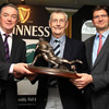 Brendan Fanning and Oliver Loomes are pictured with ex-Ireland and Lions centre/winger Cecil Pedlow, who was inducted into the Hall of Fame