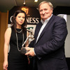 Erin Rooney is pictured with former Ireland coach Gerry Murphy, who received the Tom Rooney award for services to rugby