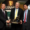 Former Ireland and Lions back rower Willie Duggan was inducted into the Hall of Fame. He is pictured alongside Brendan Fanning and Diageo's Oliver Loomes
