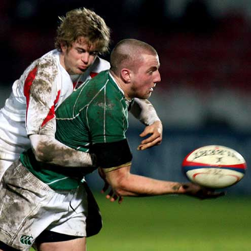 Ireland Under-20 captain Paul Ryan offloads in the tackle