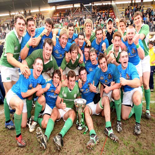 David Pollock and his team-mates celebrate with the U-20 Six Nations trophy