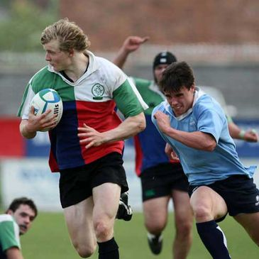 Chris Cochrane on the attack for the Ireland Under-20s