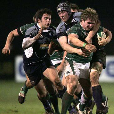 Ireland Under-20 hooker Jason Harris-Wright in action against Scotland