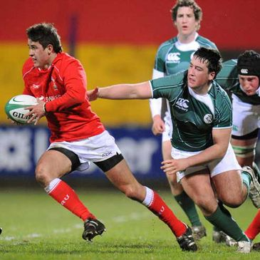 Rhys Downes in action for the Welsh Under-18s against Ireland