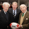 Two members of Ireland's 1948 Grand Slam winning side, Jack Kyle and Jim McCarthy, are pictured with the launch's host Mícheál Ó Muircheartaigh