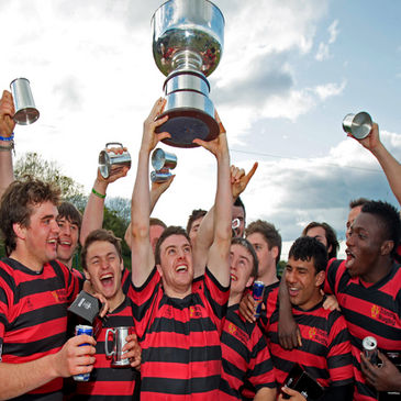 Trinity celebrate winning the All-Ireland IRFU Club Sevens title